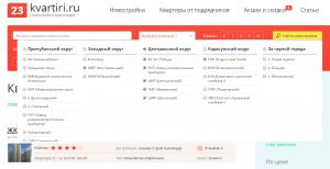 Поиск по районам 23квартиры.ру